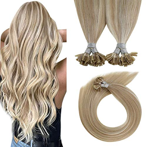 LaaVoo 16 Policce U Tip Keratin Hair Extensions Great Lengths 1g Cheratina Capelli Veri 50 Ciocche Biondo Cenere Highlighted Bionda Leggera #P18/24