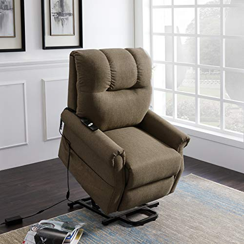 Merax Electric Recliner Chair Lazy Sofa for Elderly, Power Lift Office or Living Room, Brown