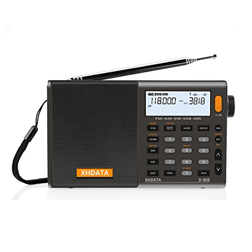 XHDATA D-808 Portable Digital Radio FM Stereo/SW/MW/LW SSB RDS Air Band Multi Band Radio Speaker with LCD Display Alarm Clock External Antenna and Rechargeable Battery(Grey)
