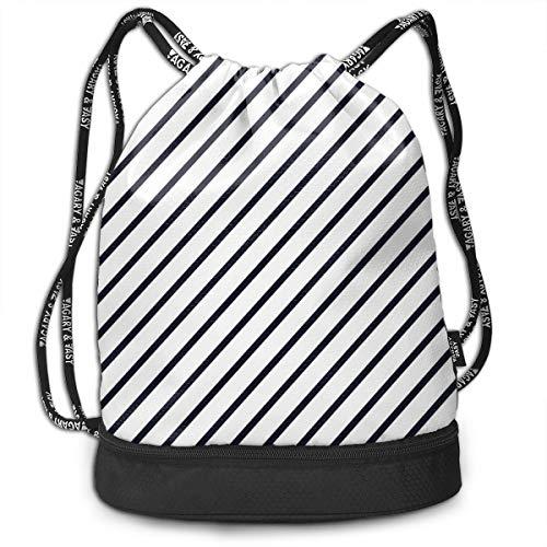 DPASIi Mochilas con cordón, diseño de rayas diagonales, patrón monocromático, diseño clásico de patrón antiguo, cierre de cuerda ajustable.