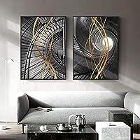 北欧の創造的な壁アートキャンバスポスター絵画プリントリビングルームの抽象的な幾何学写真モーデンアートの装飾80x120cmx2Pcsフレームレス