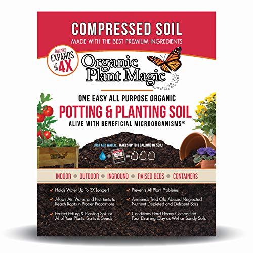 Compressed Organic Potting-Soil for Garden & Plants - Expands up to 4 Times When Mixed with Water - Nutrient Rich Plant Food Derived from Natural Coconut Coir & Worm Castings Fertilizer