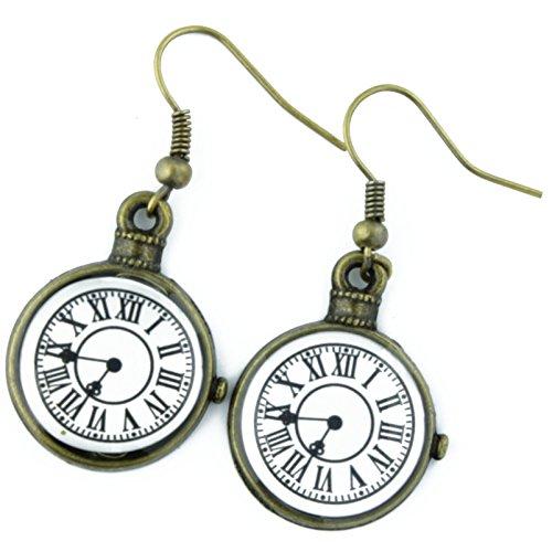 The Funky Barcode Uhr Gesicht bronzefarbene Ohrringe mit Geschenkbox