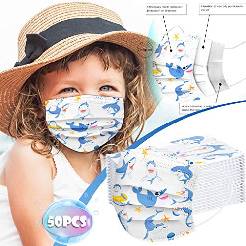 3 Ply Non-Woven and Breathable, Cute Cartoon 50Pcs Face Bandanas with Cute Printing, No Washable,Anti-Haze Dust, for Kids (Multicolor F)