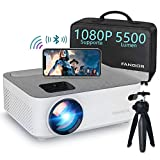 Mini Wifi Projector, Fangor Bluetooth video Projector 720P native Updated 5500 lumen support