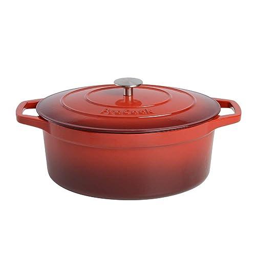 ProCook - Cocotte ovale en fonte émaillée compatible induction dégradé rouge 30cm/6,2l