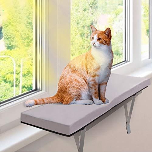 MASTERTOP Fensterbank Katzen Fensterplatz mit Flanellkissen, 60 x 30 x 5 cm, Sonnenbad Katzenbett für Haustier Katze