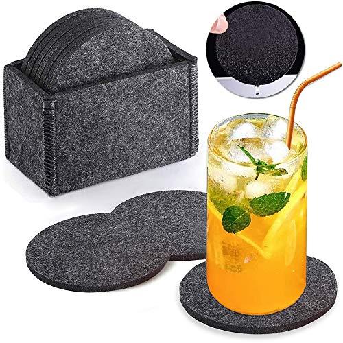 Aiskki Untersetzer Filz Dekoration für Gläser, Filzuntersetzer Coasters Set Getränke-untersetzer Waschbar Tischuntersetzer,Rund - (- 10er Set Ink. Box)