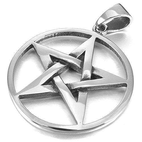 MunkiMix Edelstahl Anhänger Halskette Silber Ton Pentagramm Fünfzackigen Stern Herren,mit 58cm Kette