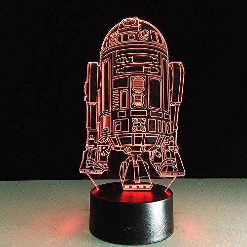 Lámpara de ilusión 3D, luz nocturna de ilusión 3D, luz nocturna 3D con 16 colores cambiantes y control remoto Robot Star Wars R2D2