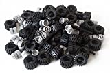 LEGO City Complete Wheel Assembly Lot, 20 Black Axles, 40 Black RUbber Tires, 40 Light Gray Wheels