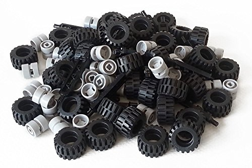 LEGO City Complete Wheel Assembly Lot, 20 Black Axles, 40 Black RUbber Tires, 40 Light Gray Wheels