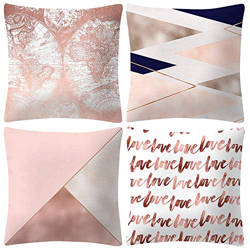 FENGLI Pale Rose Pink Pillowcase, Set of 4 Gold Foil Cushion Cover, Soft Skin Cashmere, 4 PC 45cm *45cm, Home Decoration, Living Room, Sofa, (G) (Color : D)