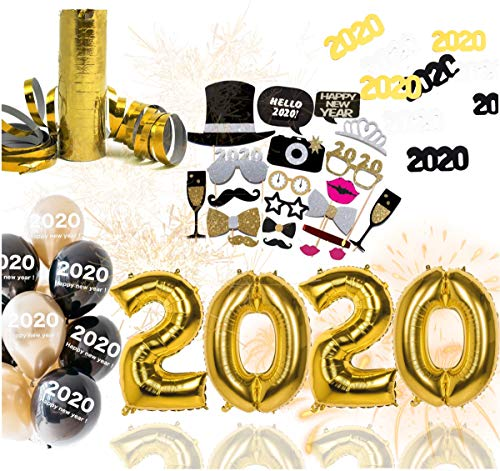 TK Gruppe Timo Klingler XXL Silvester Deko Set 2020 - mit Luftballons, Luftschlangen, Latexballons, Konfetti, Fotorequisitten als Dekoration zu Neujahr (XXL Set)