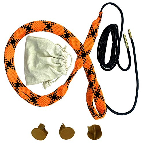 YOURBORE Gun bore Cleaning Snake Rope kit Circular Run 12G,3 Muzzle Covers Cotton Storage Bag