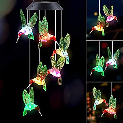 IIET Wind Chimes Outdoor Solar Hummingbird Wind Chimes Color Changing LED Mobile Wind Chime Birthday Gifts for Mom, Hanging Decorative Romantic Patio Lights for Yard Garden Home Party