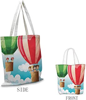 Explore Pattern shopping bag Children in Hot Air Balloons Flying Kids Adventure Exploration Themed Illustration Great for shopping W15.75 x L17.71 Inch Multicolor