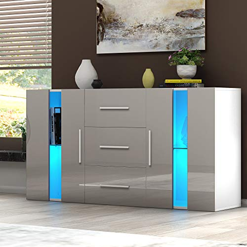 Modern TV Cabinet Sideboard Storage Cupboards 3 Drawers 2 Doors RGB LED Lights Display Cabinet Storage Unit for Living Room Bedroom(Grey)