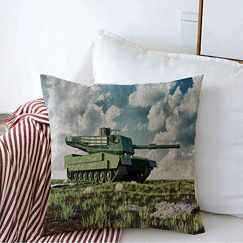 Decorative Throw Pillow Cover Abrams Main Heavy Tank Battlefield Landscape Miscellaneous Technology Armed Armor Armored Ground Cozy Square Cushion Covers 20 x 20 Inches for Bench Bedding Car