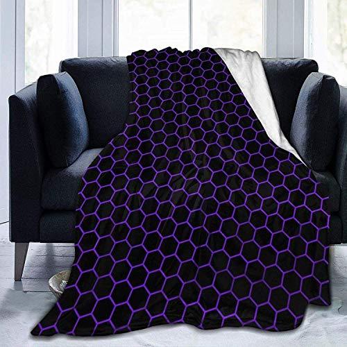Manta de nido de abeja negra y morada, hexagonal, ultra suave, suave, acogedora manta de cama para cama, sofá, sala de estar, playa, picnic, otoño, primavera, invierno, uso Th