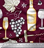 Soimoi Lila Seide Stoff Trauben, Weinglas & Flasche Dekor