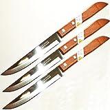 Set of 3 KIWI Stainless Steel Knives, wood handle # 501