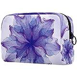 Makeup Pouch Watercoloor Purple Flower Art Makeup Bag Organizer Travel Zip Toiletry Bag Small Cosmetic Case Beauty Bag for Teens Girls Women