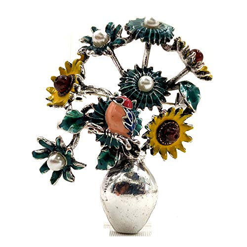 DREAMLANDSALES Lovely Vintage Multi-Colored Enamel Bird Daisy Sunflower Vase Brooches and Pins Bonsai Jewelry
