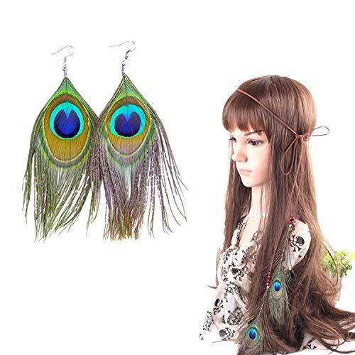 PPX Indianer kopfschmuck Feder Stirnband + 2 Ohrringe Damen Boho Haarschmuck mit Handgewebte Quasten Pfauenfeder Holzperle Einstellbar Haarband Kopfschmuck Federschmuck