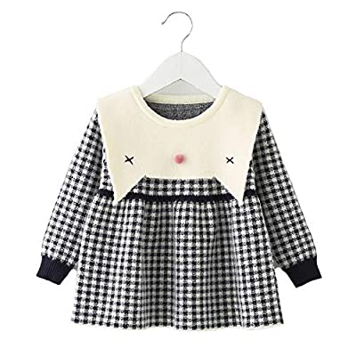 Moonnut Baby Girls Pullover Sweater Dress Check Pattern Knitted One Piece for 1-5T (2T, Navy)