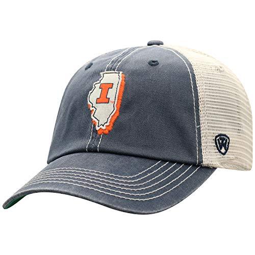 Top of the World Herren Mütze NCAA Off Road Mesh State Icon verstellbar, Herren, NCAA Men's Off Road Mesh Back Hat, Illinois Fighting Illini Navy, Einstellbar