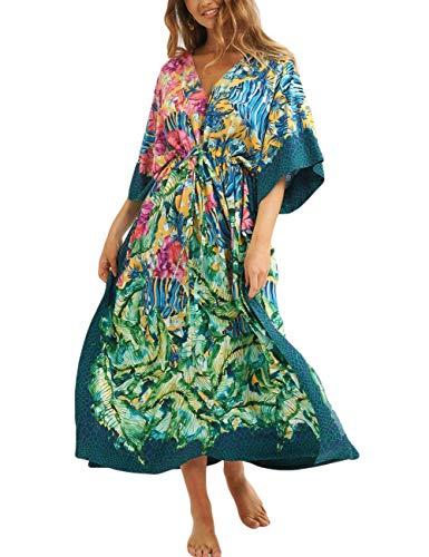 Bsubseach Women Floral Print Beach Kaftan Dress Summer Short Sleeve Swimsuit Cover Up Swimwear