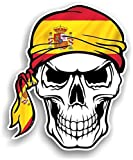 CTD – Adhesivo de vinilo, diseño de calavera con bandana de bandera de España, 100 x 120 mm