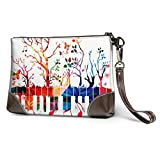 XCNGG Clavier de Piano coloré Note de musique imprimé pochette sac à main amovible en cuir bracelet portefeuille sac femmes sac à main