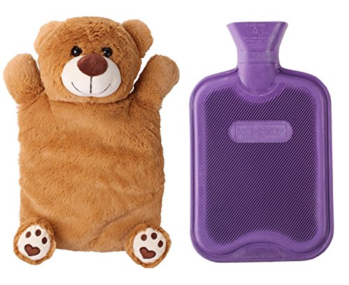 HomeTop Premium Classic Rubber Hot or Cold Water Bottle with Cute Stuffed...