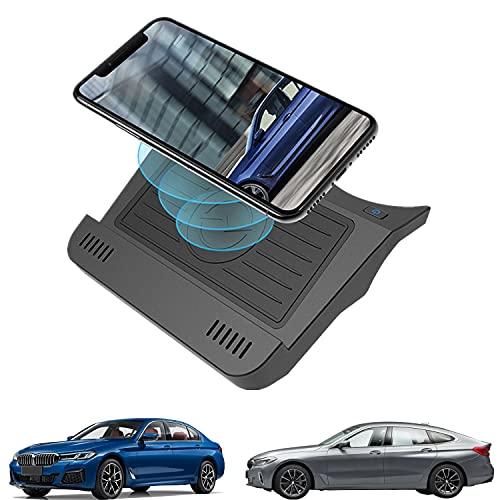 Paobiy Adecuado para BMW Serie 5 2017 2018 2019 2020 2021 cargador inalámbrico coche consola central, 10 W Qi carga rápida teléfono cargador pad con 18 W QC3.0 USB para iPhone 8/11/Pro/X/XR Samsung