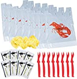 Lobster Bibs, Seafood Cracker Sheller Set, Hand Towels, and Lemon Juice Filter Nets