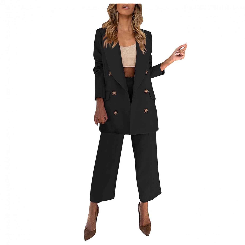 Padaleks Women's Plus Size Double-Breasted Pantsuit Set Two Piece Office Lady Suit Set Work Blazer Jacket Pants