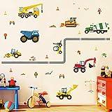 Runtoo Pegatinas de Pared Coche Excavadora Stickers Adhesivos Vinilo Construcción Vehículos Decorativas Infantiles Habitacion Bebe