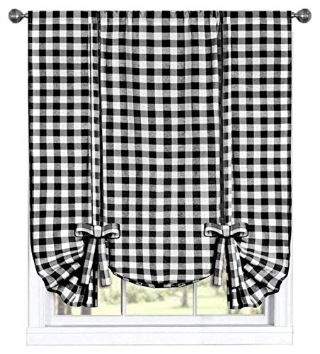 GoodGram Buffalo Check Plaid Gingham Custom Fit Farmhouse Window Curtain Tie Up Shades - Assorted Colors (Black)