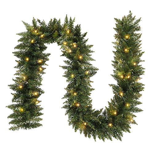 ANOTHERME 9 FT Pre-lit Christmas Garland Holiday Artificial Decor for Stairs Wall Door Indoor Outdoor Garland with Battery Operated Timer