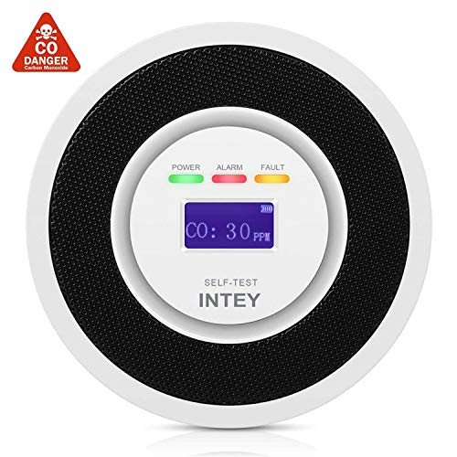 INTEY CO Melder mit LCD-Digitalanzeige, Hochempfindlicher kohlenmonoxid Warnmelder, Bis zu 85 dB/M Alarmton Sorgt für Sicherheit, nach CE und EN 50291, Geeignet für zu Hause, Schule, Garage, etc.