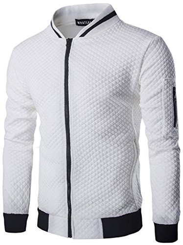 HOP FASHION Mens Casual Long Sleeve Baseball Collar Diamond Design Zipper Up Jacket Elastic Hem Lightweight Sport Cotton Coat with Pockets HOPM035-White-M