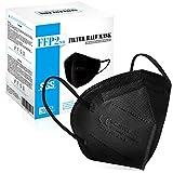 20 PCS Mascarillas Negras FFP2 - Homologadas 0598-5 Capas Protectoras - Cómodas y Resistentes Con Clip Nasal - Envasadas Individualmente en Bolsa de PBS (Negro)