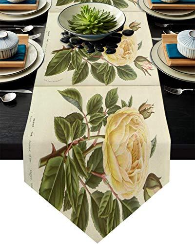 Camino de mesa de arpillera, diseño de flores amarillas y hojas verdes sobre fondo vintage, 33 x 177 cm