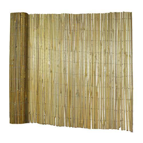 casa pura Bambusmatte Brasil | Sichtschutz-Zaun aus gespaltenem Bambus | 300 cm breit | für Balkon, Terrasse, Garten | naturbelassen | Verschiedene Höhen (150x300 cm)