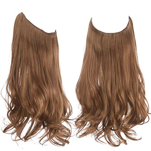 Brown Hair Extension Halo Curly Long Synthetic Hairpiece Light Golden Brown 18 Inch 4.2 Oz Hidden Wire Headband for Women Heat Resistant Fiber No Clip SARLA(M01&12#)