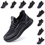 Zapatos de Seguridad Hombre Trabajo Comodos Mujer con Punta de Acero Ligeros Calzado de Industrial y Deportivos Transpirable Negro Rojo Número 36-48 EU Negro 44