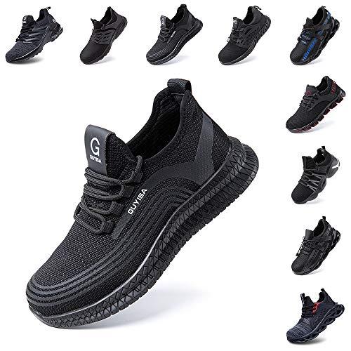Zapatos de Seguridad Hombre Trabajo Comodos Mujer con Punta de Acero Ligeros Calzado de Industrial y Deportivos Transpirable Negro Rojo Número 36-48 EU Negro 44 ⭐