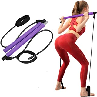 KONON Portable Pilates Bar Kit with Resistance Band, Home Gym Pilates with Foot Loop for Total Body Workout Equipment, Yog...